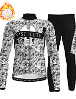 cheap -21Grams Men's Long Sleeve Cycling Jersey with Tights Winter Fleece Polyester Grey Skull Floral Botanical Christmas Bike Clothing Suit Thermal Warm Fleece Lining Breathable 3D Pad Warm Sports Graphic