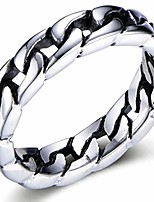 cheap -6mm stainless steel cuban curb link chain wedding band biker ring (silver, 10)