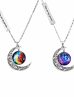"""cheap -best friends necklaces moon pendant, engraved friendship bff necklace for 2 """"love across light years"""" you're my person"""