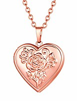 cheap -rose gold heart locket necklace for women picture photo locket necklace that hold pictures