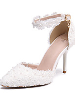 cheap -Women's Wedding Shoes Stiletto Heel Pointed Toe Sexy Classic Minimalism Wedding Party & Evening PU Pearl Lace Flower Floral Solid Colored White
