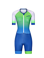 cheap -Men's Women's Short Sleeve Triathlon Tri Suit Polyester Green Polka Dot Gradient Bike Clothing Suit Breathable 3D Pad Quick Dry Reflective Strips Sweat-wicking Sports Polka Dot Mountain Bike MTB Road