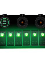 cheap -6 GANG Green LED Switch Panel ON-OFF Rocker Toggle for Car Boat Marine 12V IP67