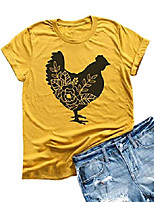 cheap -womens farm life tees cute floar chicken graphic t shirt short sleeve country tops (xl, yellow)