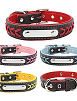 cheap -Dog Collar Adjustable Breathable Retractable Outdoor Walking Color Block PU Leather Golden Retriever Corgi Bulldog Bichon Frise Schnauzer Poodle Purple Yellow Red Pink Light Blue 1pc