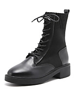 cheap -Women's Boots Chunky Heel Round Toe Booties Ankle Boots British Daily PU Solid Colored Black / Booties / Ankle Boots