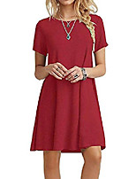 cheap -summer dresses for women basic casual tshirt dress short sleeve loose red xs