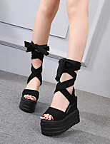 cheap -Women's Sandals Wedge Heel Round Toe Classic Daily Nubuck Solid Colored Almond Black
