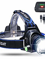 cheap -LED head torch waterproof usb rechargeable led head torch, 3 light modes 600lm, perfect for camping, jogging, walking and other outdoor sports (blue)