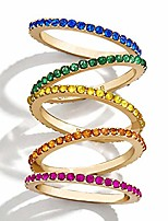 cheap -5 pcs women's rainbow stackable rings colorful cubic zirconia finger jewelry for girls (5)