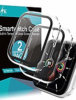 cheap -lϟk 2 pack case for apple watch 44mm series 6 5 4 se with buit-in screen protector tempered glass all-around hard pc protective high definition clear cover for iwatch 44mm series 6 5 4 se - clear