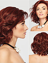 cheap -Synthetic Wig Curly Asymmetrical Wig Medium Length Wine Red Synthetic Hair Women's Cool Comfy Burgundy