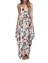 cheap -women's summer beach dress floral pattern v-neck sleeveless boho maxi dress cocktail dress (red, m)