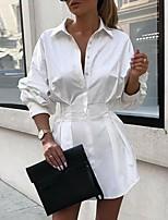 cheap -Women's Shirt Dress Short Mini Dress - Long Sleeve Solid Color Patchwork Summer Fall Shirt Collar Elegant Casual Slim 2020 White Black Red Orange S M L XL XXL
