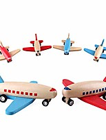 cheap -clockwork flying plane wooden mini friction powered airplanes – set of 3 push and go toy travel set planes for toddler kids (red wing)