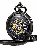 cheap -pocket watch skeleton hand-wind mechanical double case golden roman numerals antique with fob chain