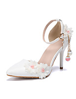 cheap -Women's Wedding Shoes Stiletto Heel Pointed Toe Sexy Classic Minimalism Wedding Party & Evening PU Pearl Lace Tassel Solid Colored Floral White