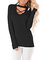 cheap -women's long sleeve criss cross choker tunic tops casual v neck t shirt blouse tops deep black