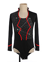 cheap -Figure Skating Top Men's Boys' Ice Skating Top Black High Elasticity Training Competition Skating Wear Crystal / Rhinestone Long Sleeve Ice Skating Figure Skating / Kids
