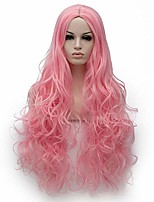 cheap -halloweencostumes 31 inches long fashion middle part wavy synthetic wig natural curly cosplay costume  christmas party daily wear wigs for women with free wig cap (pink2)