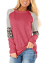 cheap -womens long sleeve tops leopard print t shirts tee color block fall clothes red l