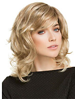 cheap -Synthetic Wig Curly Asymmetrical Wig Medium Length Blonde Synthetic Hair Women's Soft Comfy Fluffy Blonde