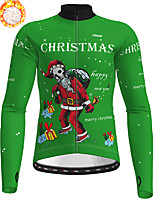 cheap -21Grams Men's Long Sleeve Cycling Jersey Winter Fleece Polyester Red Dark Green Orange Christmas Santa Claus Bike Jersey Top Mountain Bike MTB Road Bike Cycling Fleece Lining Warm Quick Dry Sports