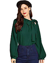 cheap -women's side bow tie neck long sleeve pullover blouse shirt top x-small green