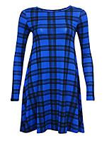 cheap -womens red green tartan check print long sleeve swing skater dress plus size8-26