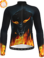 cheap -21Grams Men's Long Sleeve Cycling Jersey Winter Fleece Polyester Black Animal Bike Jersey Top Mountain Bike MTB Road Bike Cycling Fleece Lining Breathable Warm Sports Clothing Apparel / Stretchy