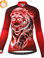 cheap -21Grams Women's Long Sleeve Cycling Jacket Winter Fleece Polyester Red Tiger Bike Jacket Top Mountain Bike MTB Road Bike Cycling Thermal Warm Fleece Lining Breathable Sports Clothing Apparel