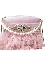 cheap -Women's Bags Faux Fur Top Handle Bag Feathers / Fur Pearls Handbags Daily Going out White Blushing Pink