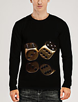 cheap -Men's T shirt 3D Print Graphic 3D Print Long Sleeve Daily Tops Round Neck Black