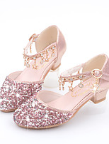 cheap -Girls' Heels Princess Shoes PU Little Kids(4-7ys) Big Kids(7years +) Party & Evening Walking Shoes Pink Gold Silver Spring Summer