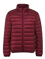 cheap -men's packable lightweight down puffer jacket outdoor windproof coat wine red x-large