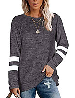 cheap -womens long sleeve tops color block sweatshirts sweaters fall t shirt clothes a-dark grey xl