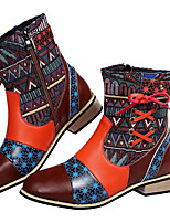 cheap -Women's Boots Block Heel Round Toe Casual Daily Walking Shoes PU Red / Booties / Ankle Boots
