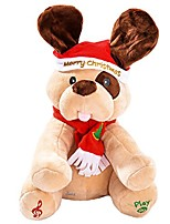 """cheap -christmas holiday dog stuffed animal 9"""""""", animated plush singing peek-a-boo & waving ears dog, xmas electric toy party gift for kids children, plays xmas tunes"""