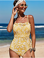 cheap -Women's Fashion One Piece Swimsuit Ruched Drawstring Print Padded Normal Strap Swimwear Bathing Suits Yellow Blushing Pink