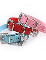 cheap -Dog Collar Adjustable Breathable Retractable Outdoor Walking Shing Diamonds PU Leather Corgi Shiba Inu Pug Bichon Frise Schnauzer Poodle White Black Red Blue Pink 1pc