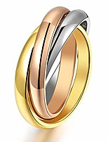 cheap -women's stainless steel gold silver rose triple band interlocked rolling ring, us size 05-09