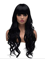 cheap -Synthetic Wig Water Wave Neat Bang Wig Long Natural Black Synthetic Hair Women's Classic Black