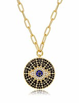 cheap -14k gold plated evil eye turquoise pendant necklace for women 18-20inch,hamsa hand of fatima pendant necklace for women girls,round circle disk minimalist jewelry for women (turquoise-evil eye)