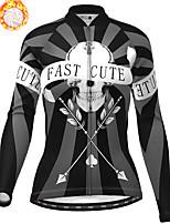 cheap -21Grams Women's Long Sleeve Cycling Jersey Winter Fleece Polyester Black Skull Christmas Bike Jersey Top Mountain Bike MTB Road Bike Cycling Fleece Lining Warm Quick Dry Sports Clothing Apparel