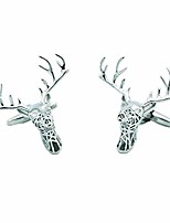 cheap -christmas elk french shirt cufflinks for men,silver openwork deer head cuffs jewelry - perfect business wedding party gifts