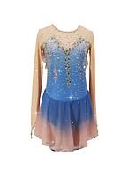 cheap -Figure Skating Dress Women's Girls' Ice Skating Dress Blue+Pink Patchwork Asymmetric Hem Spandex High Elasticity Competition Skating Wear Crystal / Rhinestone Long Sleeve Ice Skating Figure Skating