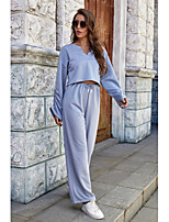 cheap -Women's Basic Plain Daily Two Piece Set T-shirt Crop Pant Tops