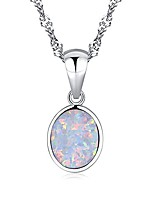 cheap -14k white gold plated white fire opal necklace oval shaped gemstone pendant necklace for ladies girls