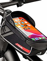 cheap -bike frame bag, waterproof bike accessories with tpu touch screen, waterproof mobile phone holder for smartphone under 6.5 inches and headphone hole side opening