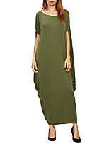 cheap -women's maxi dress batwing sleeve solid round neck baggy ball gown club party long dresses black